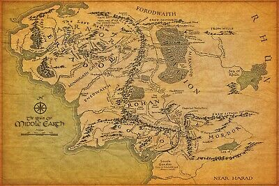 24x36 14x21 Poster The Lord of the Rings Movie Map of Middle Earth Art Hot P-71