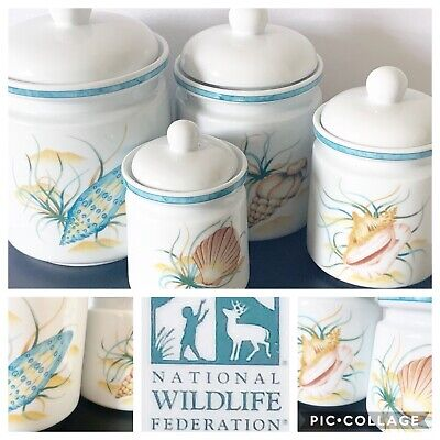 National Wildlife Federation Seashells Countertop Canisters Set of Four PO LN