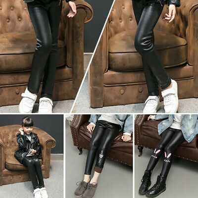 New Kids Girls Toddler Faux Leather Elastic Fleece Lined Leggings Trousers Pants