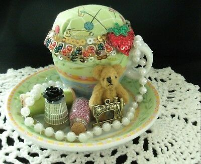 Unique handmade pin cushion pin keep sewing gift OOAK mini tea cup green teddy