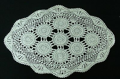 Vintage hand made cotton doily oval crochet ecru 38x25cm large flowers picot