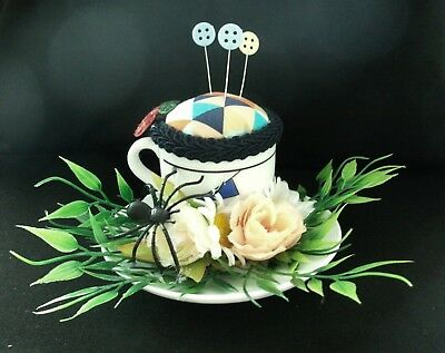 Unique handmade pin cushion pin keep sewing gift OOAK mini tea cup spider kitsch