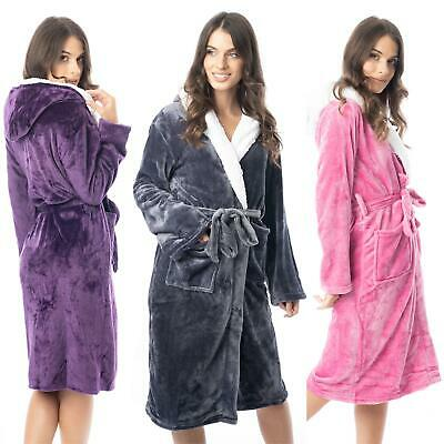 Womens Hooded Dressing Gown Bath Robe Flannel Fleece Robes Sherpa Hood Gowns