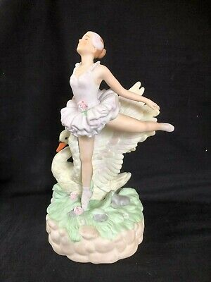antique / vintage  bisque / porcelain statue of a ballerina with swan.
