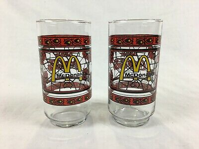 McDonalds : 2 x Stained Glass Coke Drinking Glasses - Tiffany Style - Coca Cola