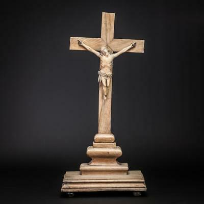 Crucifix Altar | Standing Wooden Cross| Antique 17th Century Jesus Christ | 19""