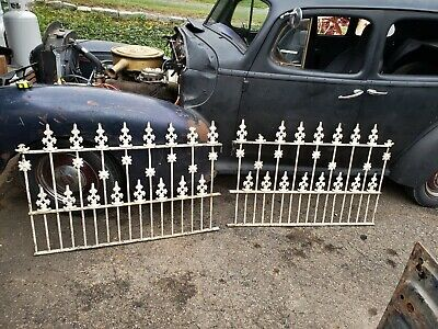 "8 Feet x32"" high Antique Ornate Victorian Cast & WROUGHT IRON FENCE  Garden"