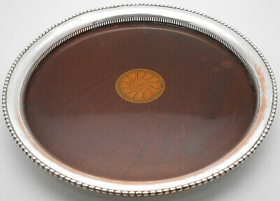 ANTIQUE EDWARDIAN SILVER PLATED on COPPER DRINKS TRAY - GEORGIAN STYLE