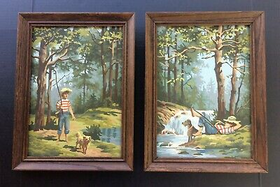(2) Vintage Paint by Number Paintings BOY & DOG FISHING Cabin Decor OAK Frames