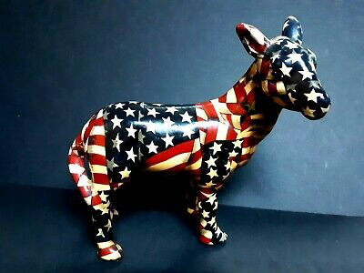 Vintage patriotic flag Democrat party Donkey, appears hand made