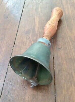 Antique Vintage Large Bronze / Brass School Hand Bell,Church Salvage,Wood Handle