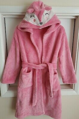 MOTHERCARE Girls Age 6 - 8 Years Pink Hooded Dressing Gown Robe