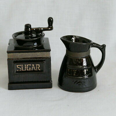 Vintage HH Holt Howard Black Ceramic Coffee Grinder Sugar Container & Creamer