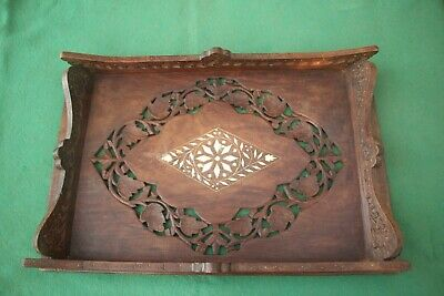 Wooden Carved Tray With Bone Inset.