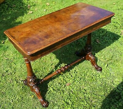 Victorian Burr walnut Side Table / Card Table