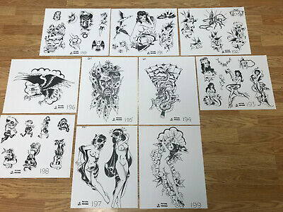 10 1977 Picture Machine 190 - 199 Risque Tattoo Flash Art Various Sizes