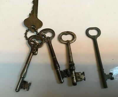 4 Old Vintage Antique Skeleton Keys, 2 Marked Corbin (G)