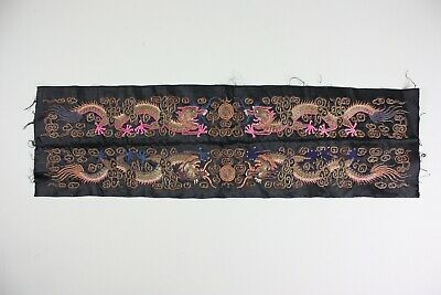 Pair of Antique Chinese Robe Sleeve Bands Embroidery Bullion Dragon Qing Dynasty