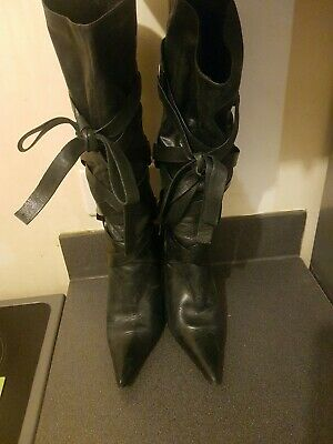 Faith Womens UK Size 7 Black Leather Knee High Boots, with back zipup