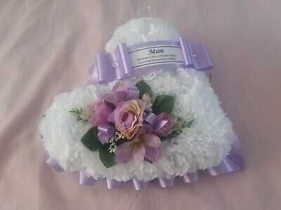 Artificial flower tribute heart wreath funeral grave memorial lilac mum nan aunt