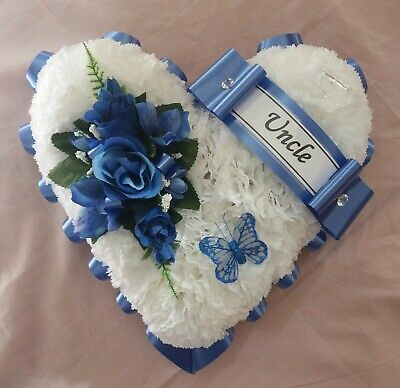 Artificial flower tribute blue heart wreath funeral memorial uncle brother dad