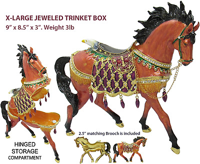 X-Large Horse Jeweled Trinket Box with Austrian Crystals, Brown