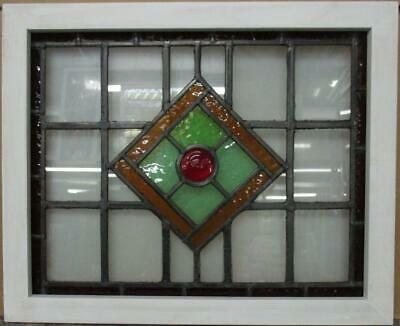 "MIDSIZE OLD ENGLISH LEAD STAINED GLASS WINDOW Geometric Bullseye 26.5"" x 21.75"""