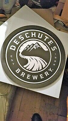 deschutes brewery round metal wood framed  bar sign...free shipping