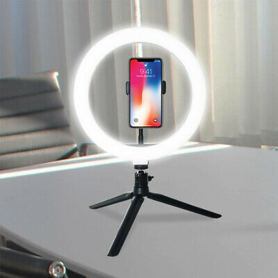 """LED Ring Light 10"""" for Live Streaming YouTube Video Dimmable Desk Tripod Stand"""