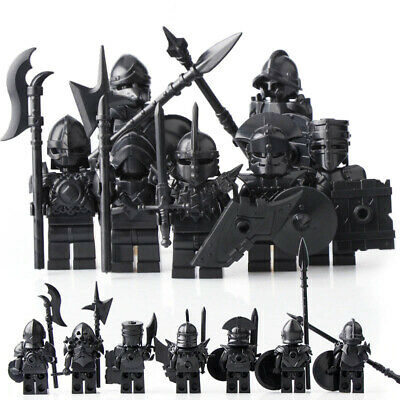 8Pcs Medieval Castle Kingdoms White Crown Knights Rider Army Lego Moc Minifigure