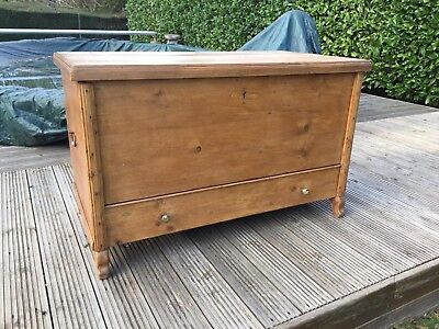 Vintage Pine Mule Chest Blanket Box Storage Trunk Drawer