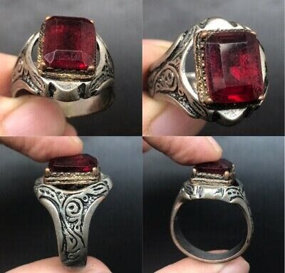 Very beautiful red natural glass stone lovely old ring
