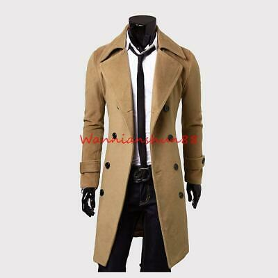 Stylish Mens Slim Fit Long Trench Coat Lapel Button Windproof Jacket Outwear