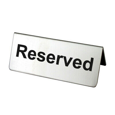 Stainless Steel Reusable Bar Restaurant Reserved Brushed Double Sided Table Sign