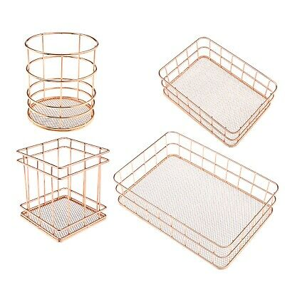 Lightweight Hollow Basket Wire Pen Holder At The Bottom Of Rose Gold Tieyi Net