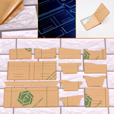 13x Clear Acrylic Wallet Pattern Stencil Template Set Leather Craft DIY Tool DT