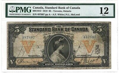 The Standard Bank of Canada $5 ,1919 . A Good Banknote PMG 12