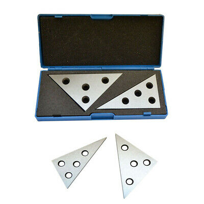2 Pc Hardened Steel Precision Ground Angle Plate 45/45/90 & 30/60/90 Degree Set
