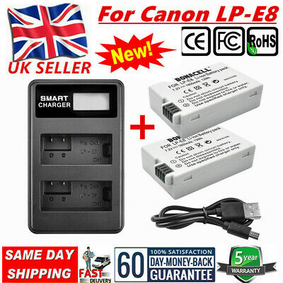 2X 1800mAh Battery+LCD DUAL Charger For Canon LP-E8 EOS 550D 600D 700D T3i X4 UB