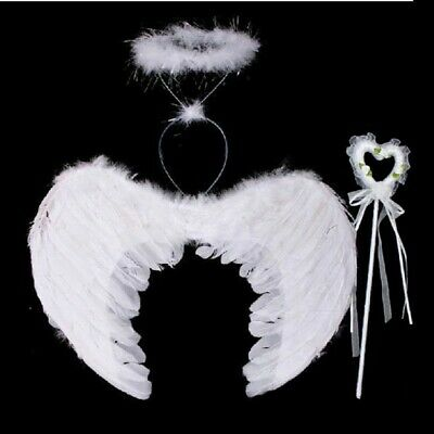 Adult Kids Feather Angel Wings with Wand Halo Costume Halloween Fancy Dress Prop