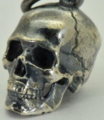 Antique 19th Century Victorian Sterling Silver Skull charm pendant fob.13mm.Rare