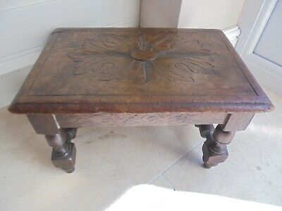 Victorian solid oak carved top footstool, bench, stool, flower carving