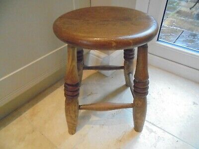Victorian antique wooden kitchen stool, 4 turned legs, cross braced