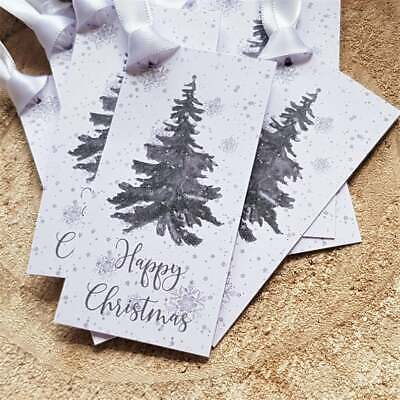 Christmas Gift Tags - Wintery Christmas Tree -White Double Satin Ribbon Included