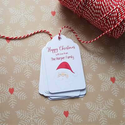Personalised Christmas Gift Tags - Santa - Including Christmas Bakers Twine