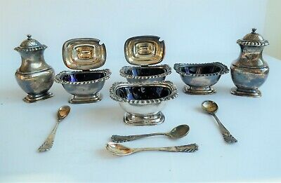 Walker & Hall EPNS condiment dishes, pepper pots and spoons. Job-lot