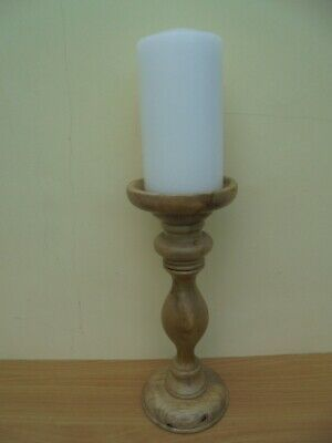 Large turned wooden table candlestick for 8cm church candle