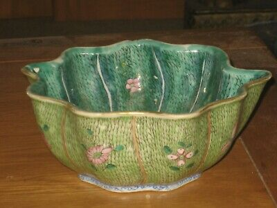 ANTIQUE18th/19th Century CHINESE FAMILLE VERTE CABBAGE  BOWL WITH SEAL MARK