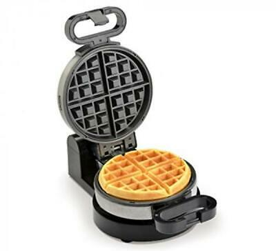 Rotating Belgian Waffle Maker Round Stainless Steel Cooker Iron Nonstick Plates
