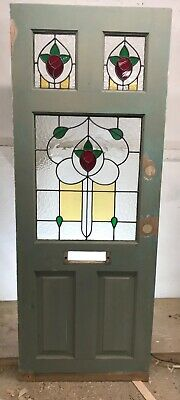Stained Glass Front Door Reclaimed Edwardian Period Leaded Antique Hardwood Old